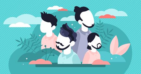 Hairstyle vector illustration. Flat tiny male face fashion persons concept. Gentleman head haircut with different beard and mustache shapes. Stylish and attractive professional shave service outcome.