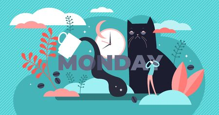 Monday vector illustration. Flat tiny sleepy morning symbol person concept. Abstract daily exhausted work visualization with text label and funny tired, lazy or overworked cat. Not enough night sleep.