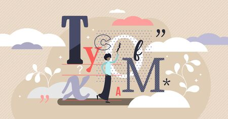 Typography vector illustration. Flat tiny writing technique person concept. Artistic text typing for cover. Calligraphy knowledge as geometric handwriting skill. Creative and unique message font style