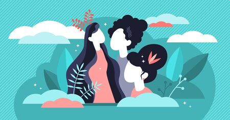 Hairstyle vector illustration. Flat tiny female face fashion person concept. Woman head haircut with different shapes. Stylish and attractive professional saloon outcome collection with various models