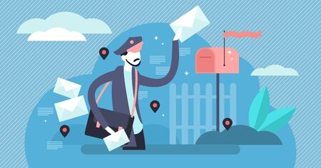 Postman vector illustration. Flat tiny letters delivery job persons concept. Envelope with postmark shipping courier with classical uniform and address postboxes. Snail mail occupation and profession. Illusztráció