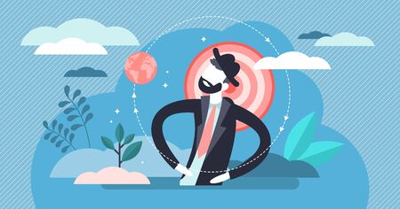 Egocentric vector illustration. Flat tiny personality perspective persons concept. Abstract egoistic individuality and narcissists behavior visualization. Symbolic complicated character posture.. Ilustração Vetorial