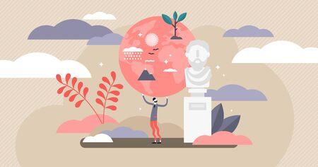 Stoische Vektorillustration. Flaches, kleines, ruhiges Psychologieschulkonzept. Altgriechisch-hellenistische Studie zur Lobpreisung persönlicher Ethik, Logik und spiritueller Selbstkontrolle. Abstrakte Toleranzweisheit Vektorgrafik