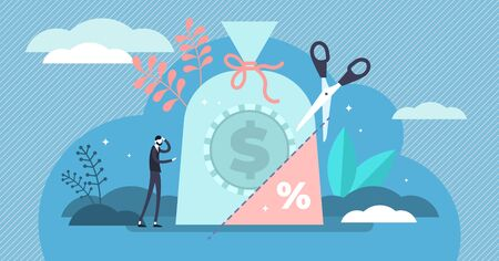 Tax rate vector illustration. Flat tiny government money share persons concept. Unwanted and obligated part of income return to state budget. Abstract symbolic accounting expense analysis management. Stock fotó - 132034278
