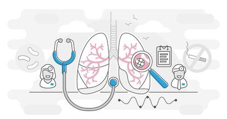 Concetto di contorno di illustrazione vettoriale di pneumologia. Concetto di assistenza sanitaria dei polmoni. Esame e trattamento astratto del sistema respiratorio. Controllo dell'ispezione degli organi interni per malattie, malattie o problemi. Vettoriali