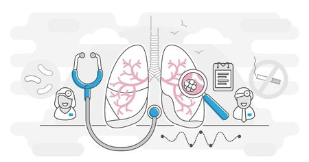 Pneumologie-Vektor-Illustration-Entwurfskonzept. Lungengesundheitskonzept. Abstrakte Untersuchung und Behandlung des Atmungssystems. Überprüfung der inneren Organe auf Krankheit, Krankheit oder Probleme. Vektorgrafik