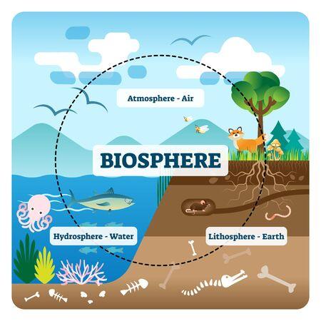 Ilustración de vector de biosfera. Etiquetado todos los ecosistemas naturales con vida silvestre. Ejemplo educativo con atmósfera, hidrosfera y litosfera. Biodiversidad sostenible y medio ambiente amigable con los animales. Ilustración de vector