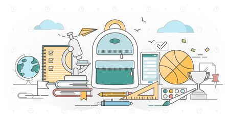 School outline concept vector illustration. Primary school basic knowledge learning in elementary grade study fields. Pupils bag with objects for class or home work. Kids education and growing skills.