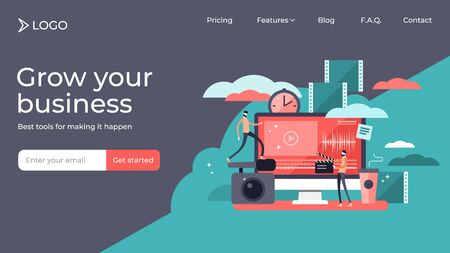 Video editor tiny persons vector illustration landing page template design. Professional film or movie production technology equipment for studio. Director and journalist scene for teamwork deadline. Stok Fotoğraf - 131978383