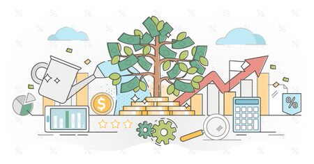 Investing money outline concept vector illustration.Deposit profit in business wealth.Increase income with positive annual interest rate.Long term compound effect strategy. Growing portfolio profits.