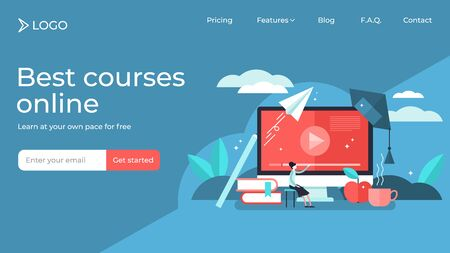 Online courses tiny person vector illustration landing page template design. Modern knowledge development using internet training teaching. Webinar and distance lesson service. Web presentation video.
