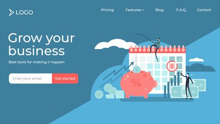 Payday flat tiny persons vector illustration landing page template design. Shortterm unsecured loan for money problems situations. Bank service for temporary income budget crisis till monthly salary.