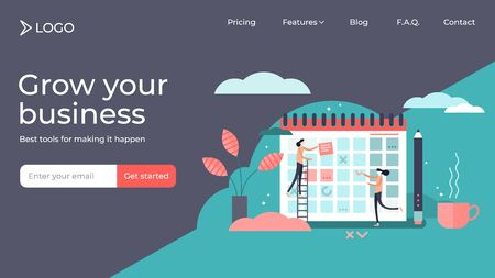 Planning flat tiny persons vector illustration landing page template design. Calendar system to organize daily routine. Time management chart graphic to structure deadline meetings or appointments.