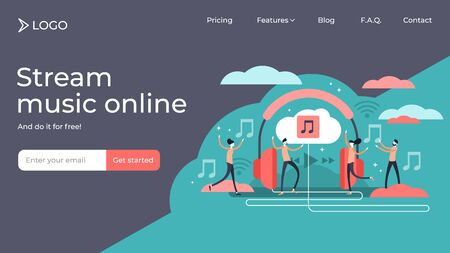 Music streaming tiny person vector illustration landing page template design. Online broadcast service system for song listening without download. Online media playback using wireless cloud content. Çizim