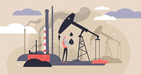 Oil industry vector illustration. Flat tiny fuel mining persons concept. Energy source industry with environment danger pump stations. Diesel plant tank engineering with urban drilling tower equipment Stok Fotoğraf - 131978429