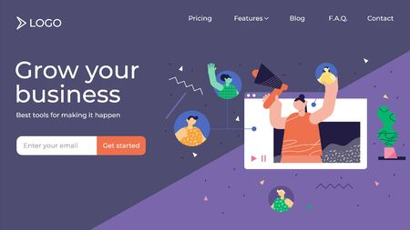 Referral marketing modern abstract landing page template design, vector illustration. Products promotion and new customers engagement method. Consumer audience communication influencer campaign.