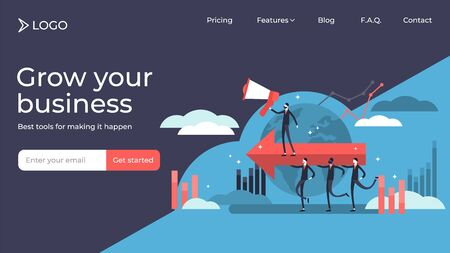 Leadership flat tiny persons vector illustration landing page template design. Process with motivated businessman communication. Company strategy to achieve goal and success. Professional development.