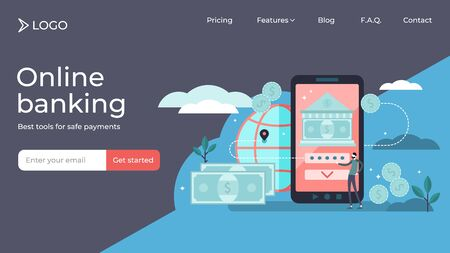 Online banking tiny person vector illustration landing page template design. Money transfer and mobile finance payment using tech. Global or secure salary income account method for digital transaction Illusztráció