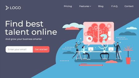 Meeting flat tiny persons vector illustration landing page template design. Colleagues teamwork brainstorming or generate ideas. Professional company management appointment to talk and discuss topic