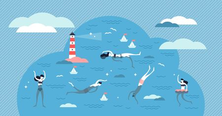 Swimming vector illustration. Flat tiny water sport activity person concept. Various swim styles athletes summer vacation. Ocean, sea or pool wave fun as leisure for healthy lifestyle and recreation. Çizim