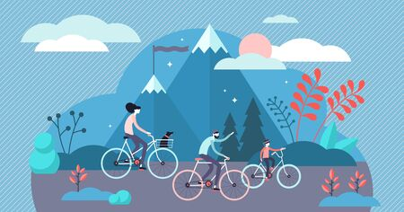 Daily life bike ride vector illustration. Flat tiny everyday transport persons concept. Active lifestyle with sustainable kind of travel. Morning route to work or school and urban riding entertainment Иллюстрация