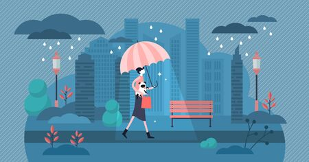 Daily life with rainy weather vector illustration. Flat tiny cloudy and windy meteorology forecast. Urban city scene with routine walk in overcast autumn storm. Outdoor water drop shower with umbrella