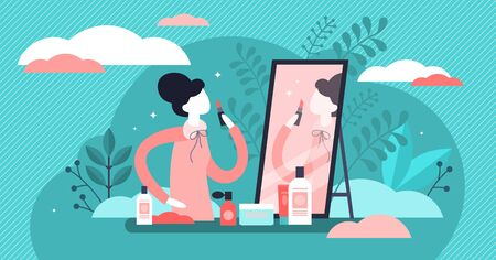 Daily beauty life vector illustration. Flat tiny woman makeup person concept. Skin care, cosmetology and hair treatment as everyday female bathroom facial routine. Fashion industry for attractive lady Иллюстрация