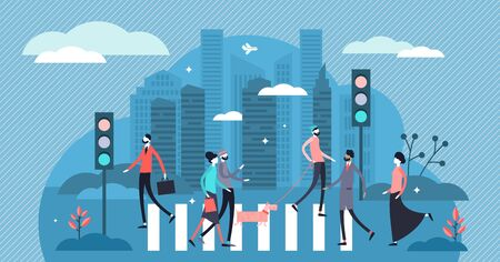 Pedestrians vector illustration. Flat tiny urban road scene person concept. Crosswalk view with street lights as public path security. Metropolis outdoor cityscape with zebra signal and modern crowd.