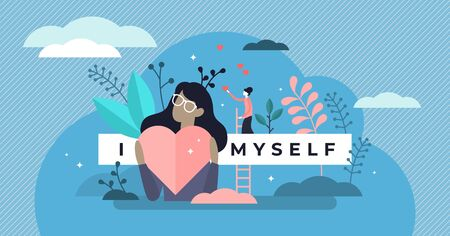 Self esteem vector illustration. Flat tiny personal confidence persons concept. Psychological mindset and life attitude as pride, appreciation and acceptance feeling. Mental and moral self respect. 向量圖像