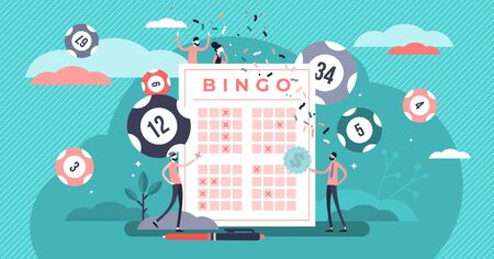 Lottery vector illustration. Flat tiny bingo game win luck persons concept. Gambling business and entertainment process. Bingo prize and lotto ticket investment. Casino bet opportunity excitement. 일러스트
