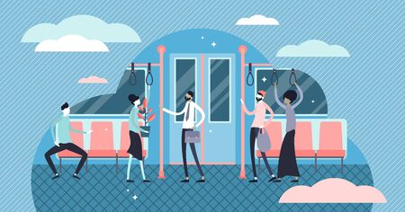Daily life commuting vector illustration. Flat tiny move to work persons concept. Everyday transport infrastructure for delivery labor to job place. Subway, tram or bus passengers in urban city scene.