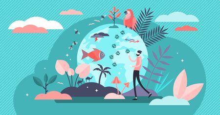 Illustrazione vettoriale di biodiversità. Piatto minuscolo concetto di varie persone della fauna selvatica. Mammiferi, uccelli, pesci e fauna hanno messo in pericolo la conservazione e la conservazione. Consapevolezza del clima terrestre e risparmio dell'habitat.