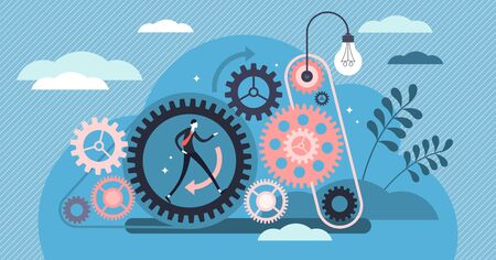 Ilustración de vector de trabajo constante. Concepto de personas de trabajo efectivo y de calidad diminuto plano. Visualización de patrones de acción lógica con círculo de conexión de engranajes. Enfoque energético de los empleados en los negocios de la empresa