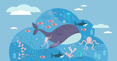 marine life vector illustration. Flat tiny sea or ocean fishes and animals visualization. Underwater wildlife with big whale. Swimming fauna exploration and research for providing sustainable habitat. 스톡 콘텐츠 - 132829526