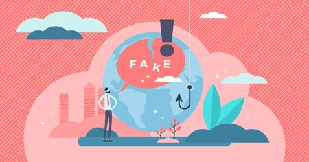 Fake vector illustration. Flat tiny false and cheat information persons concept. Lack of honesty and trust situation with fabrication, disinformation and propaganda method. Recognize and analyze facts