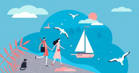 Seafront vector illustration. Flat tiny classical beach scene persons concept. Holiday outdoors activity with sea or ocean destination. Sunny summer ships and yachts environment as tourism cruise trip