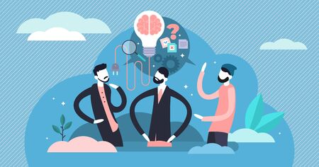 Creative brainstorming vector illustration. Flat tiny idea generation occupation person concept. Symbolic teamwork with innovation strategy thinking. Discussion about project development and invention