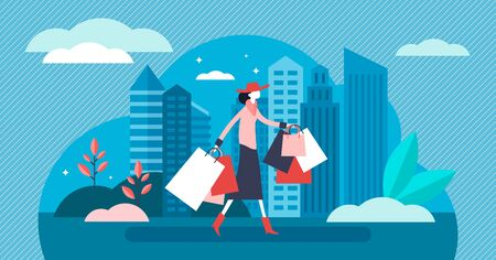 Shopping vector illustration. Flat tiny new purchase process persons concept. Daily urban scene with woman and many retail bags. Fashion buy and sell madness with clothes and products. Modern customer Illustration