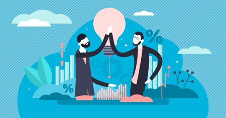 High five vector illustration. Flat tiny hand gesture sign persons concept. Happy and excited colleagues handshake alternative to celebrate good financial stats. Joy about achievement or business win.