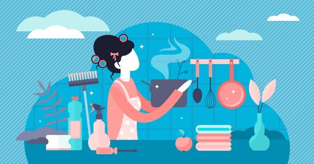 Housewife vector illustration. Flat tiny women occupation persons concept. Stereotypical female house work with cooking, laundry and cleaning. Home kitchen clothes. Everyday daily mother family care.