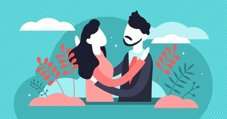Hug vector illustration. Flat tiny warm greeting process persons concept. Couple relationship, trust and friendship acknowledgment symbol. Romantic partners hugging each other. Moment before kissing. Illustration