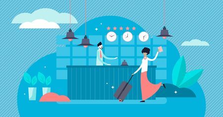 Hotel reception vector illustration. Flat tiny check in process persons concept. Tourist with room reservation and booking voucher. Symbolic holiday and travel mood with lobby staff desk and baggage.