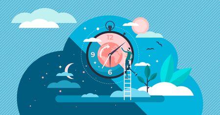 Tageszyklus kleine Person flachbild Vector Illustration. Natürliche Planetenbewegung um die Sonne. Tägliche Morgen- bis Abendroutine. Gesundes menschliches circadianes Schlafrhythmussystem. Geowissenschaften und Astrologie
