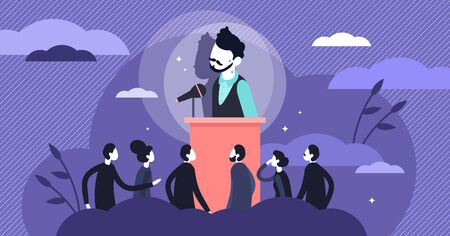 Stage fright vector illustration. Stress behavior in flat tiny persons concept. Scene with afraid of stage situation. Speaker anxiety from crowd and audience communication as psychological character. Vektorgrafik