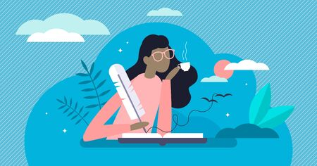Writing diary vector illustration. Private daily events reflection in flat tiny person concept. Open memo textbook with creative story fixation process. Scene with dreamy memory handwriting author. Vettoriali