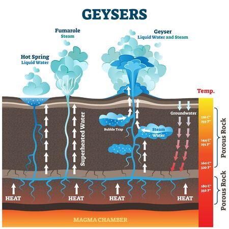 Geysers vector illustration. Labeled water and air steam from earth heat. Educational geology phenomenon with vapor smokes above ground. Explanation diagram with spring and fumarole types comparison.