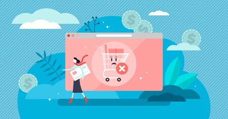 Abandoned card vector illustration. Flat tiny cancel purchase persons concept. Lack of buy motivation scene with left full cart as PIN forgotten or insufficient funds reason. Exit and deny transaction