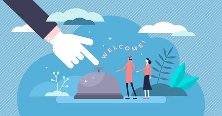 Hospitality concept flat tiny persons vector illustration. Large finger and hotel bell sign with reception stuff. Doorman and manager welcoming new client arrival on check in. Tourism industry work.