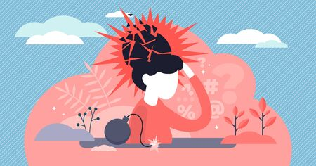 Psychological trauma concept, flat tiny person vector illustration. Mental breakdown and personal burnout. Woman head exploding under anxiety pressure, social demands and work life balance problems.