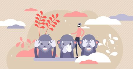 Monkey see, monkey do or Three wise monkeys concept, flat tiny person vector illustration. Japanese proverbial principle. See no evil, hear no evil, speak no evil. Emotion expression with cute apes.